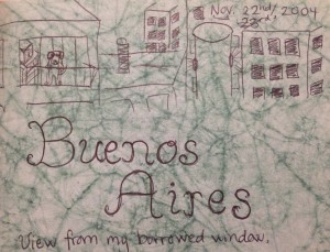 My humble drawing of the view from my apartment in Buenos Aires