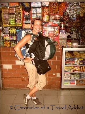 """Here I am in Panama, traveling not-so-lightly. Do I look like a """"real"""" backpacker?"""