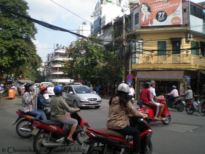 Light traffic in Hanoi: note the three different directions