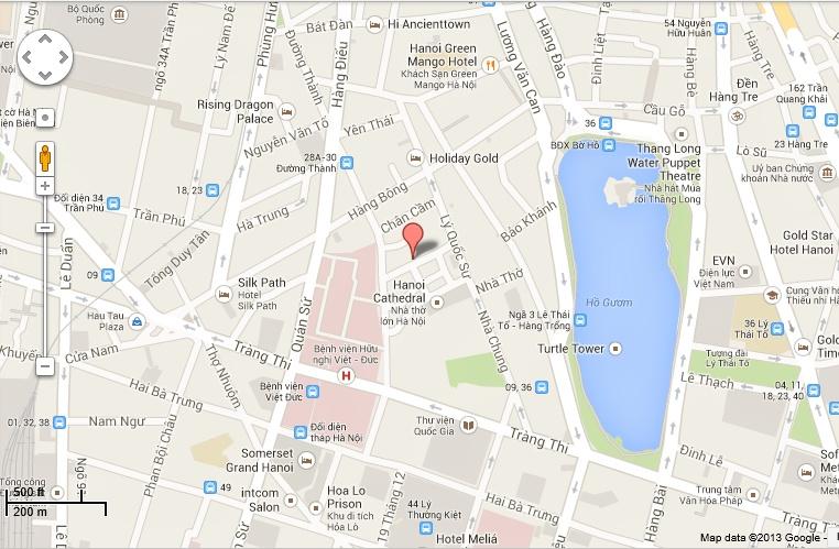Map of Hanoi Tony's Hotel