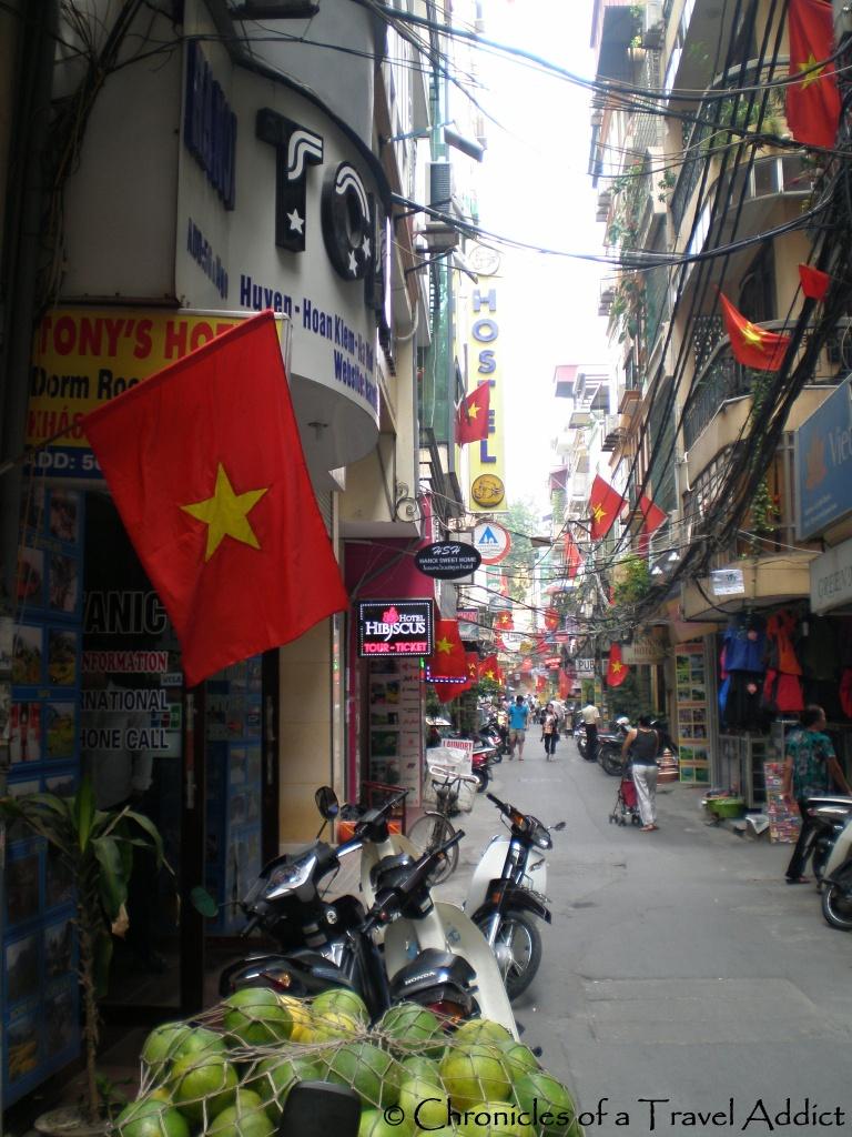 View of Ngo Huyen Street from Hanoi Tony's Hotel