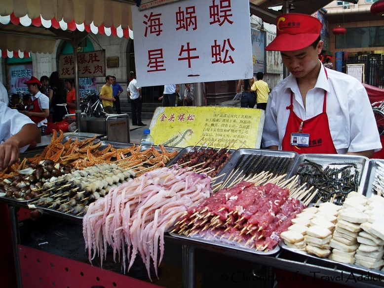 A wide array of creatures are available at Dong Hua Men Night Market in Beijing
