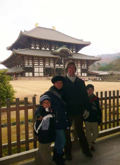 Magdalena and her family in Nara, Japan