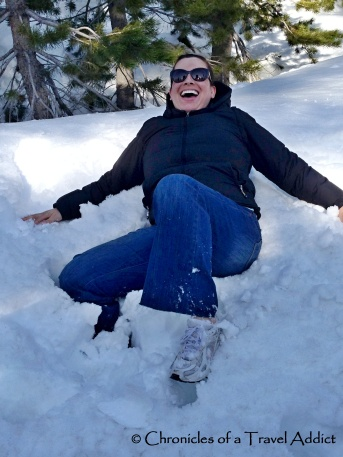 A beginner's snow angels in Lake Tahoe, Nevada