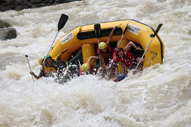 Battling the rapids and hanging on for dear life in the Padas River