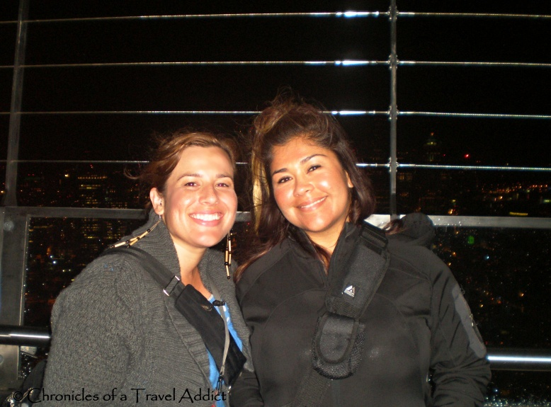 A windy night atop the Space Needle in Seattle, WA