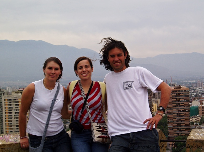 My new friends, from Australia and Brazil, and me enjoying the Santiago city view