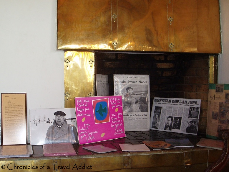 Entering La Sebastiana, the furnace is scattered with various Neruda memorabilia