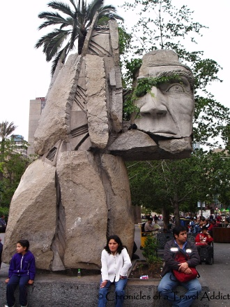 Abstract sculpture in remembrance of the indigenous Mapuche people- Santiago, Chile