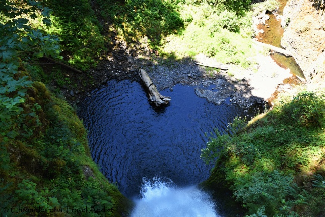 Where the waterfall ends: Looking down from the Benson Bridge