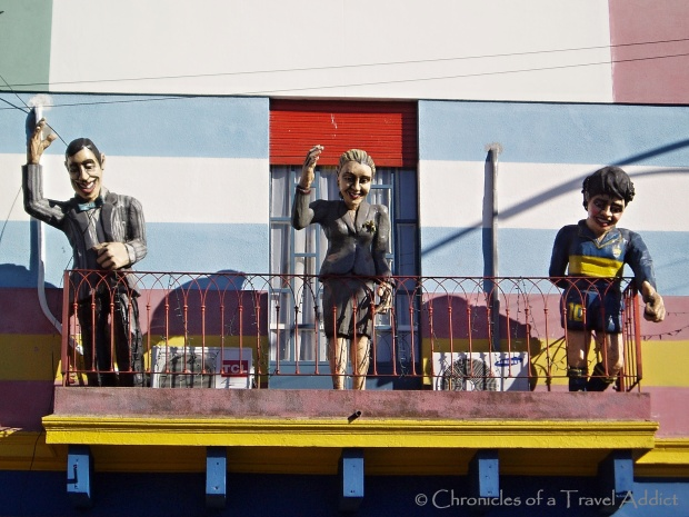 Three of Argentina's most beloved people- Carlos Gardel, Eva Peron, and Diego Maradona- honored in La Boca, Buenos Aires