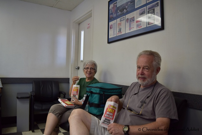 "My folks eating their ""breakfast"" at Les Schwab, and scoffing at me for documenting it"