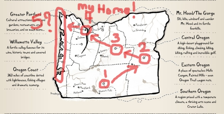 Our supposed plans for the Oregon road trip