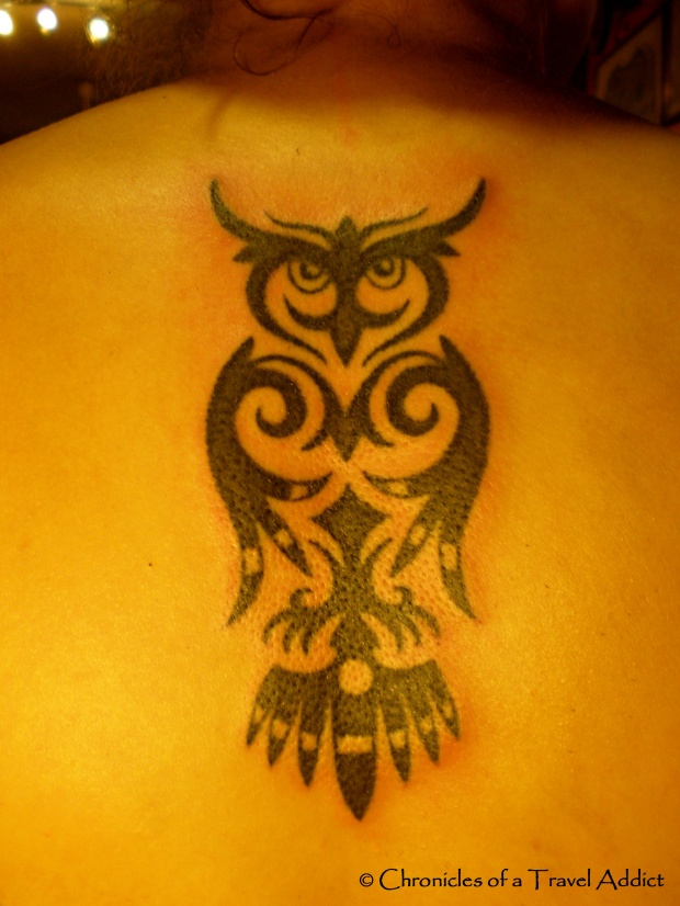 The final results of my traditional Iban owl tattoo, by Ernesto Kalum.