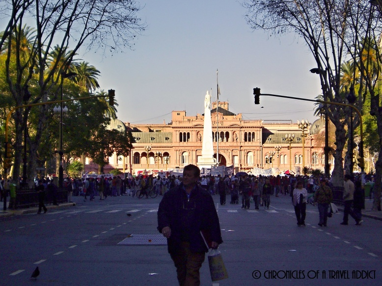 La Casa Rosada, or the president's house, during a protest in Buenos Aires, Argentina