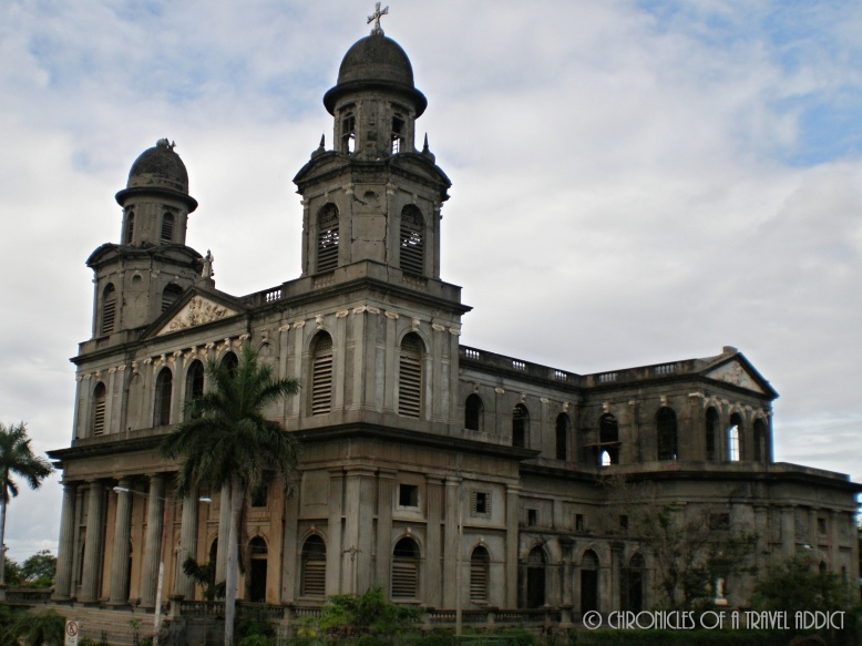 The Catedral de Santiago, in La Plaza de Revolucion, still stands in Mangua's Old City Center, ridden with bullets