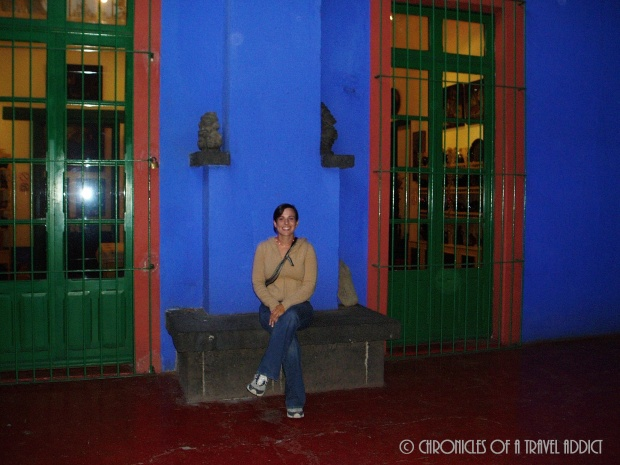 Me, sitting happily at the Casa Azul in Coyoacan. This was Frida Kahlo and Diego Rivera's house!