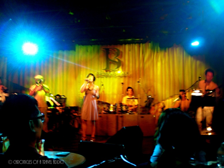Listening to live salsa music at Brown Sugar in Taipei, Taiwan