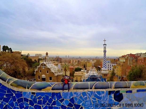 Mona the Mono hanging out in Park Guell, Barcelona, Spain