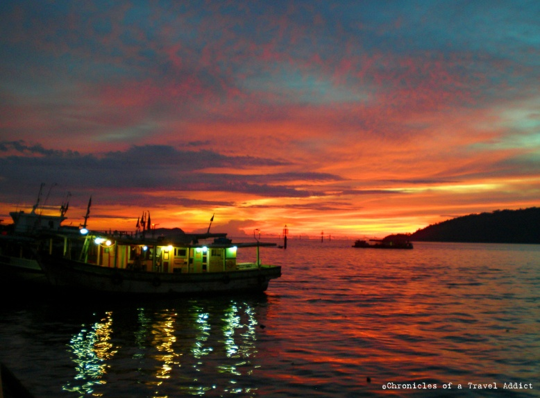 Sunset over Kota Kinabalu's waterfront