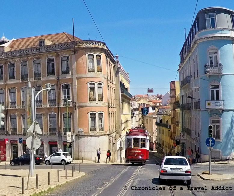 Oncoming vintage train in Lisbon