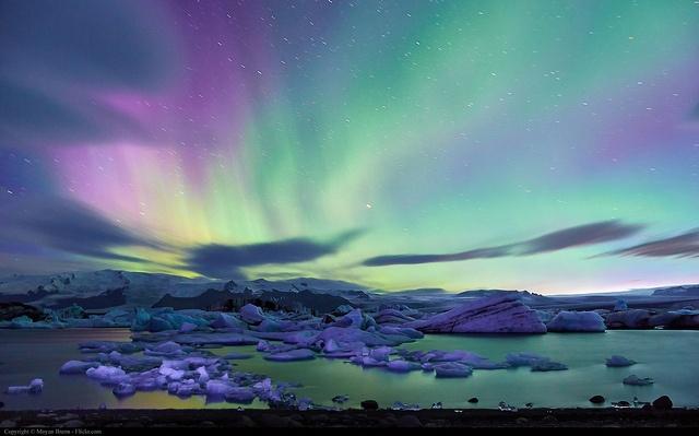 Aurora Borealis by Moyan Brenn, Jokusarlon Glacier Lagoon