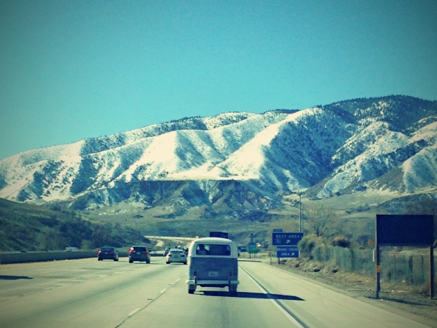road trip van mountains